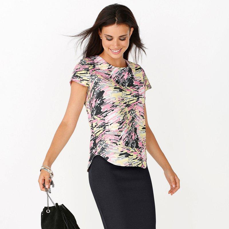 Blusa mujer manga corta estampado multicolor