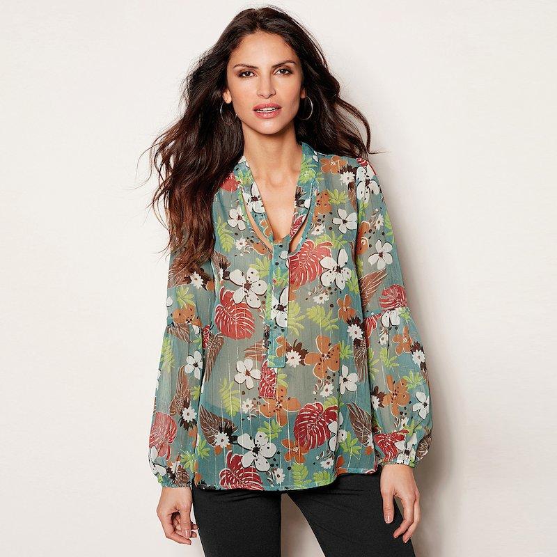 Blusa con lazada y manga larga en crepe flores - Verde
