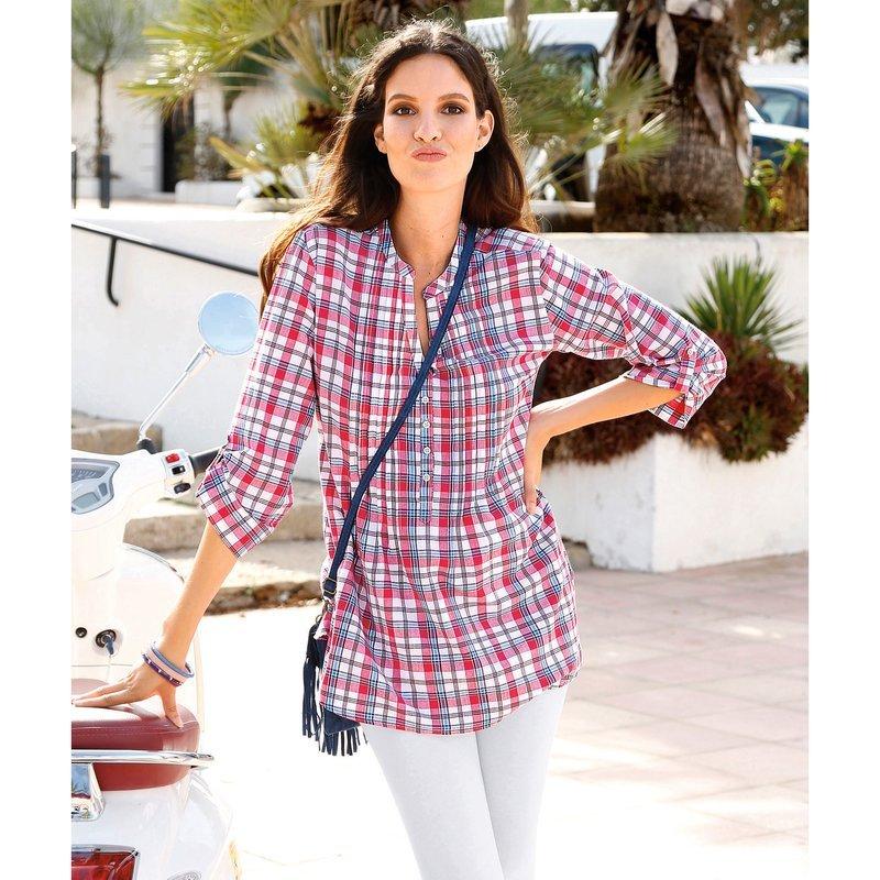 Camisa mujer manga 3/4 regulable cuadros - Blanco