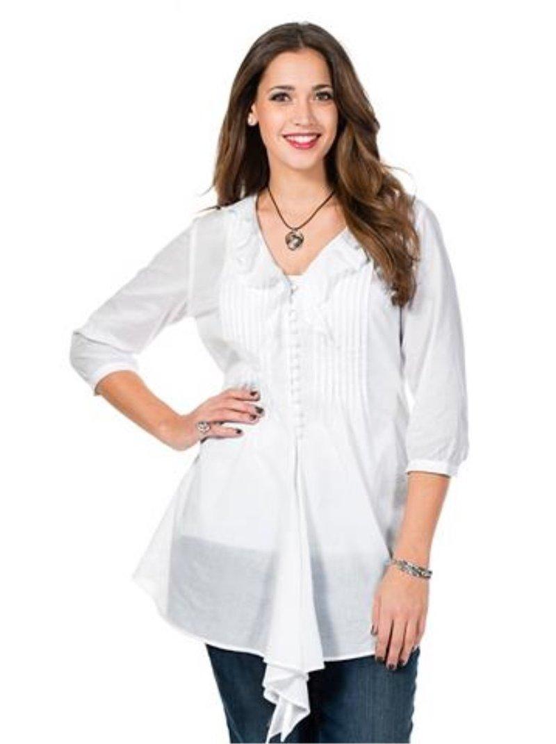 Blusa escote fruncido para mujer