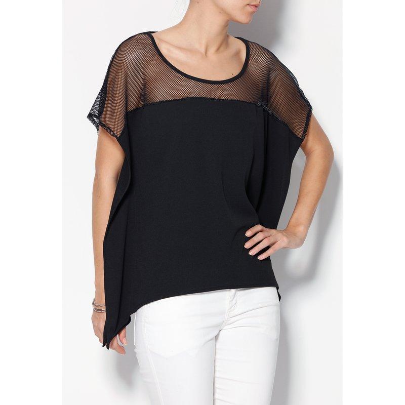 Blusa asimétrica manga corta con canesú - Negro