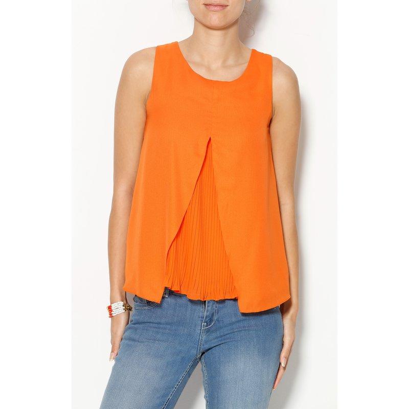 Blusa sin mangas mujer efecto doble con plisado