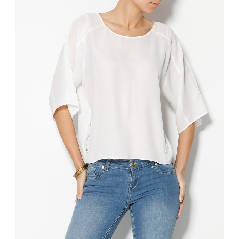 Blusa mujer manga al codo de crepe - Blanco