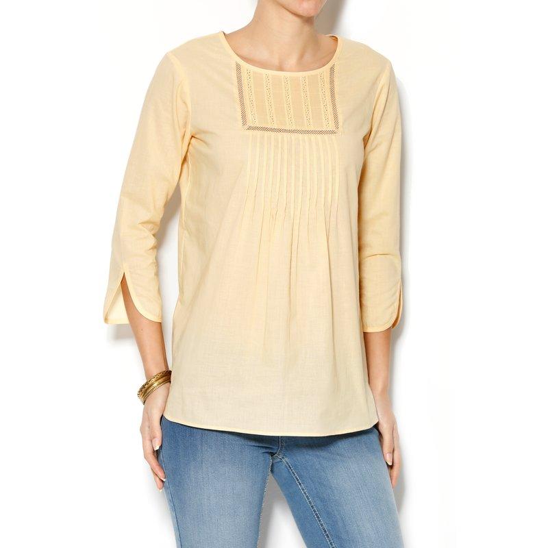 Blusa mujer manga 3/4 jaretas algodón cambric