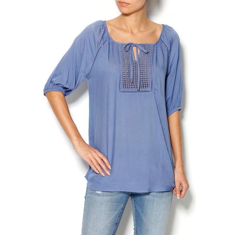 Blusa de señora con guipur de manga corta en viscosa - Azul