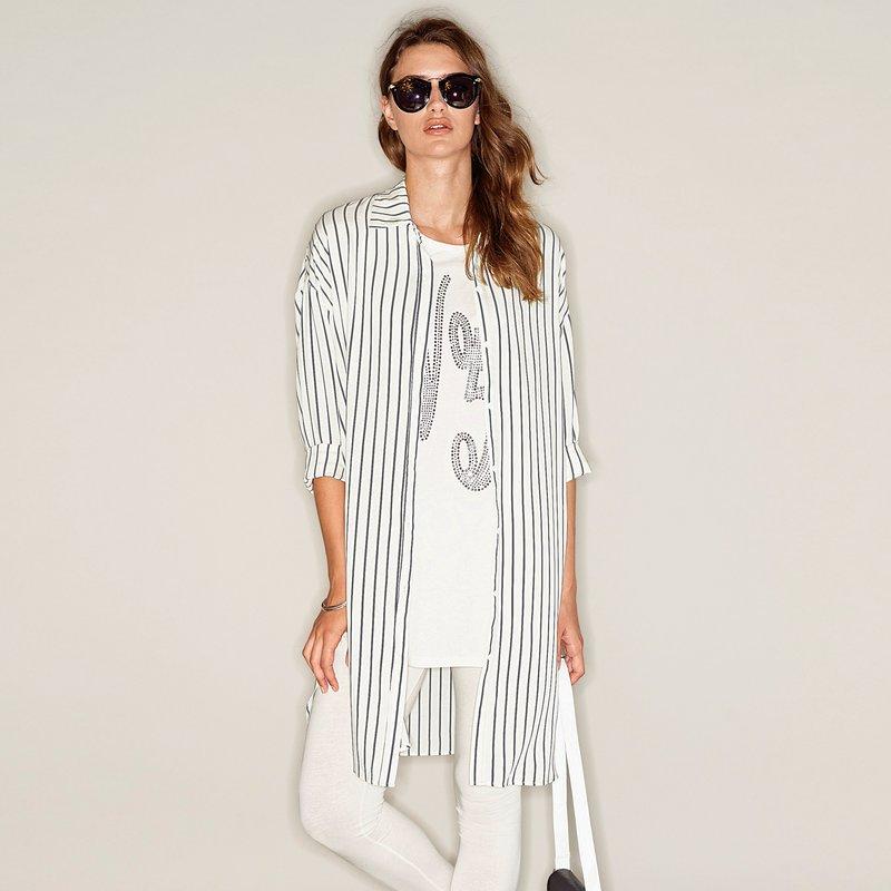 Camisa larga mujer con aberturas de rayas
