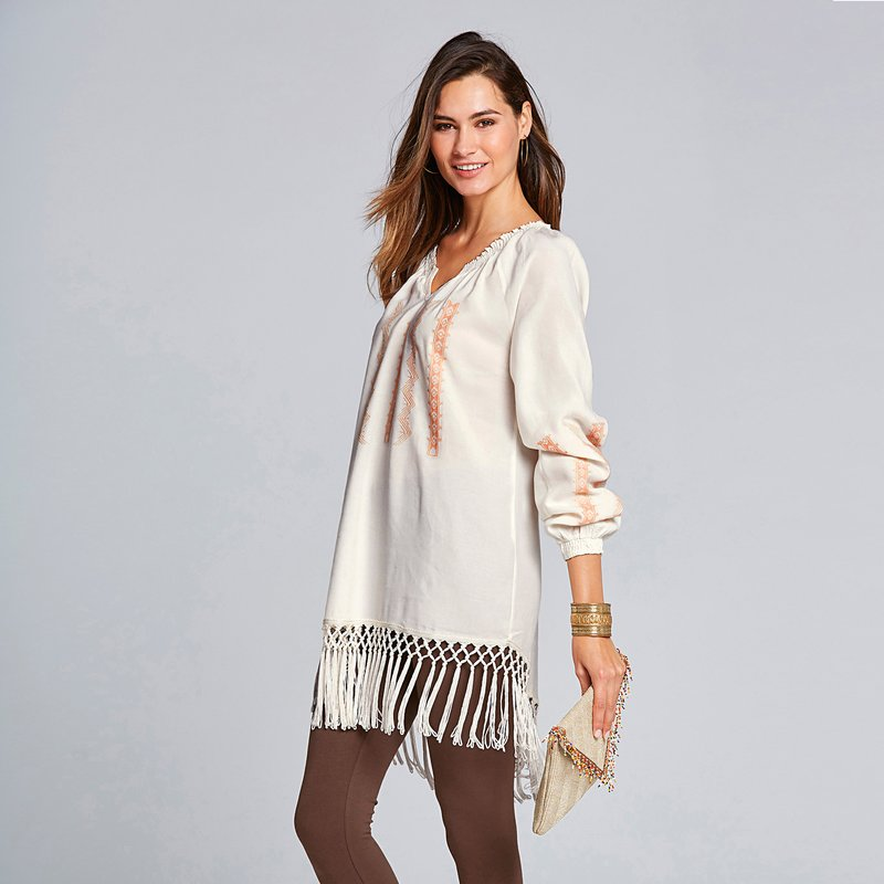Blusa bordada con flecos asimétrica - Crudo