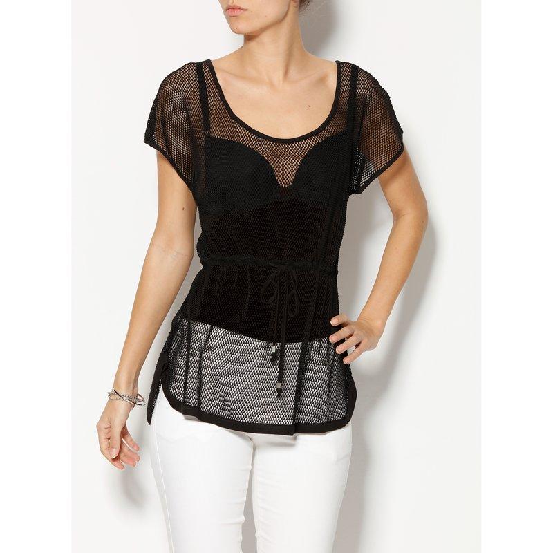 Blusa larga mesh mujer en rejilla semitransparente
