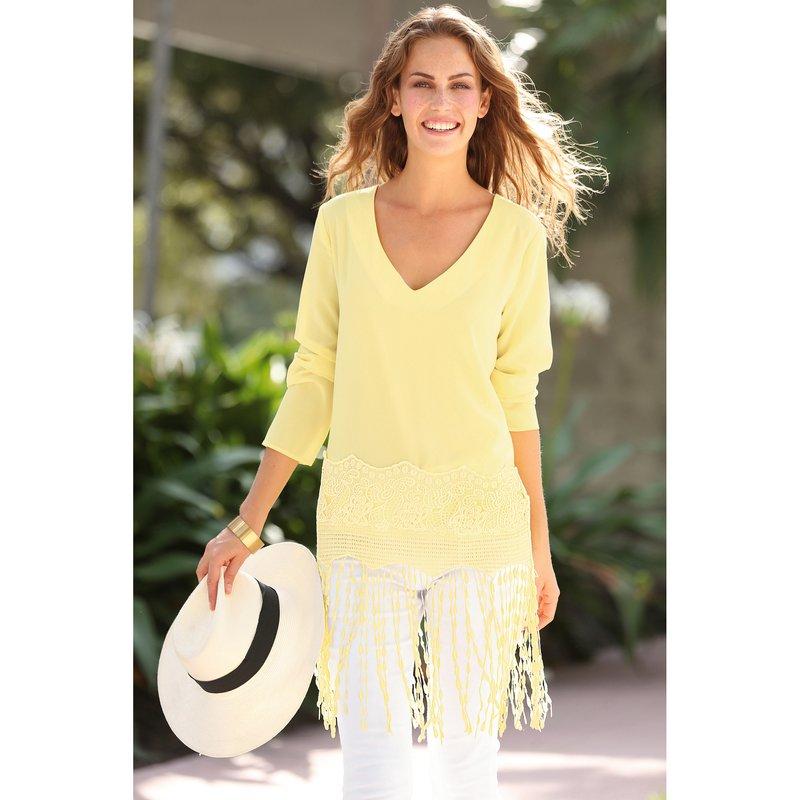 Blusa larga de fiesta con guipur y flecos - Amarillo