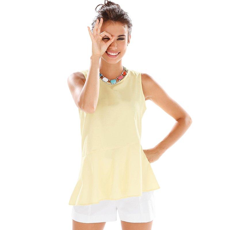 Blusa bajo asimétrico sin mangas con volante - Amarillo