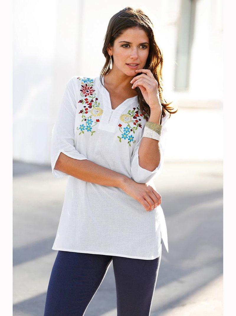 Blusa larga mujer con bordado floral frontal