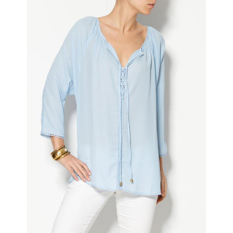 Blusa manga 3/4 señora escote caftán con pasamanería - Azul