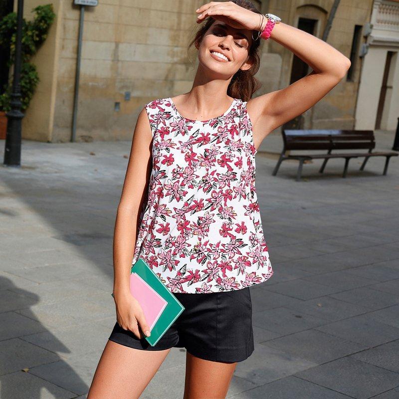 Blusa mujer sin mangas floral y abertura trasera - Negro
