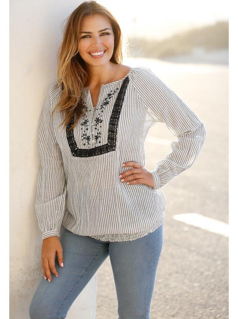 Blusa de rayas mujer con bordado y guipur