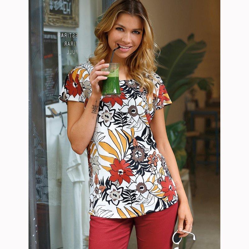 Blusa mujer manga corta estampado floral exótico