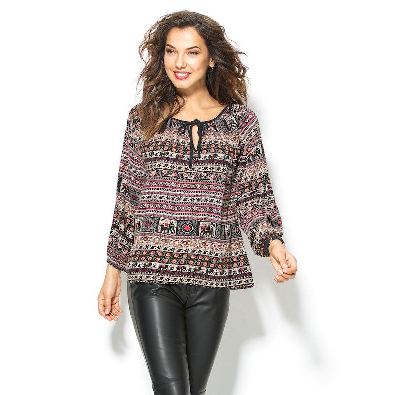 Blusa mujer manga larga estampado étnico