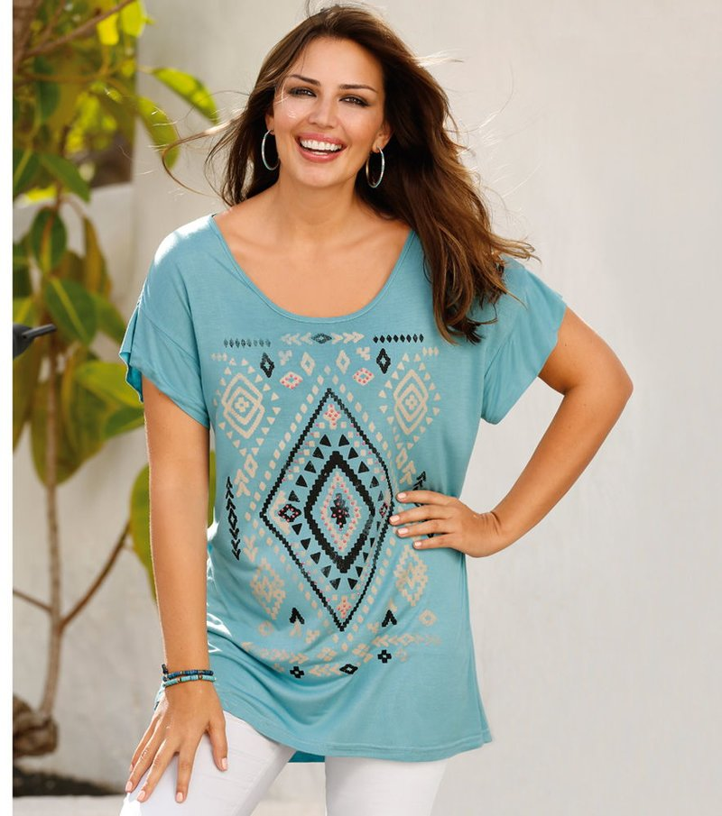Camiseta mujer manga corta étnica con pedrería