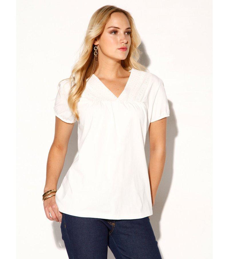 Camiseta mujer manga corta bordada 100% algodón