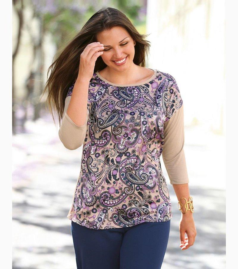 Camiseta mujer manga 3/4 con estampado elástica - Marrón