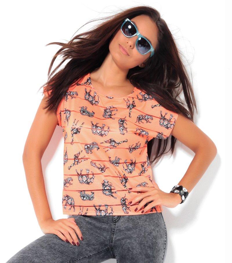 Camiseta mujer manga corta estampada safari - Naranja