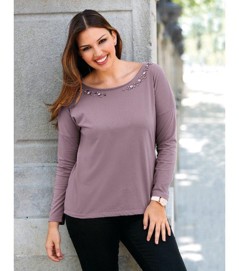 Camiseta mujer manga larga con pedrería - Lila