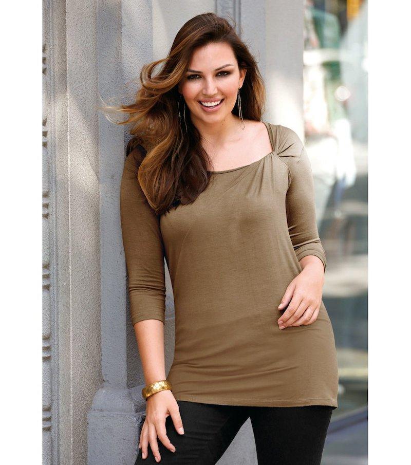 Camiseta mujer manga 3/4 detalle fruncido - Marrón