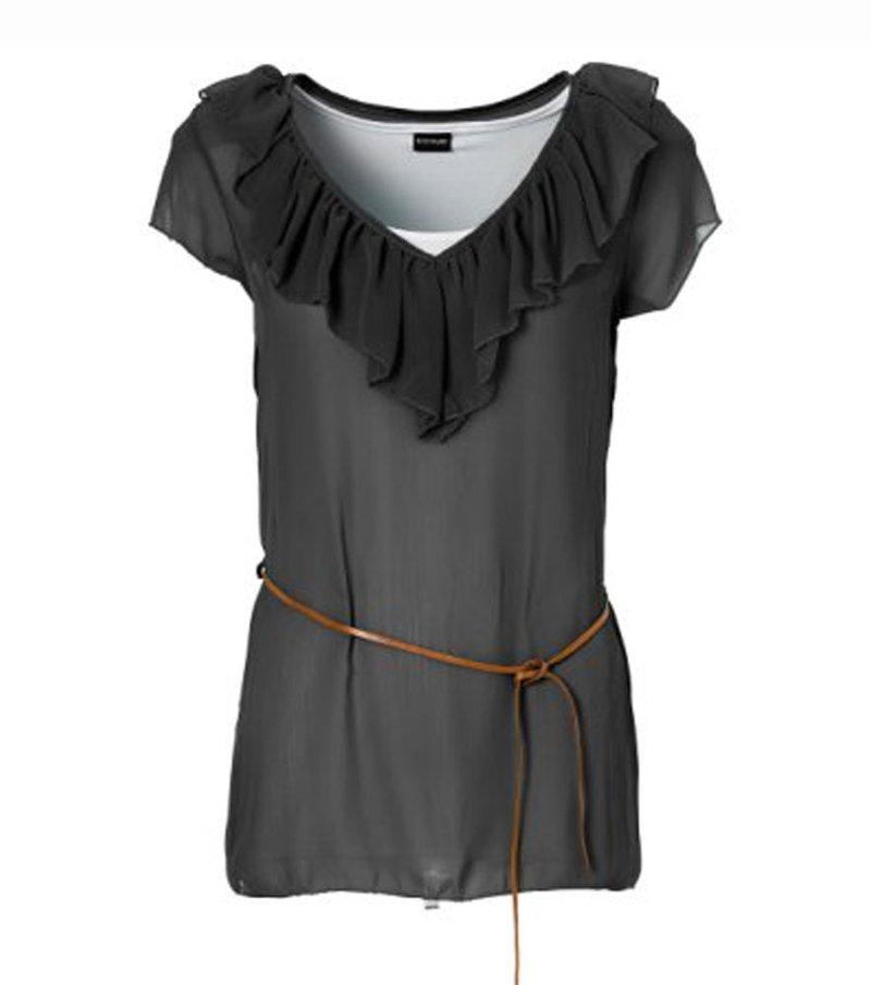 Camiseta mujer con cinturón - Negro