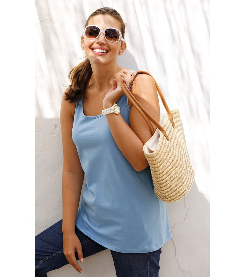 Camiseta top mujer sin mangas 100% algodón