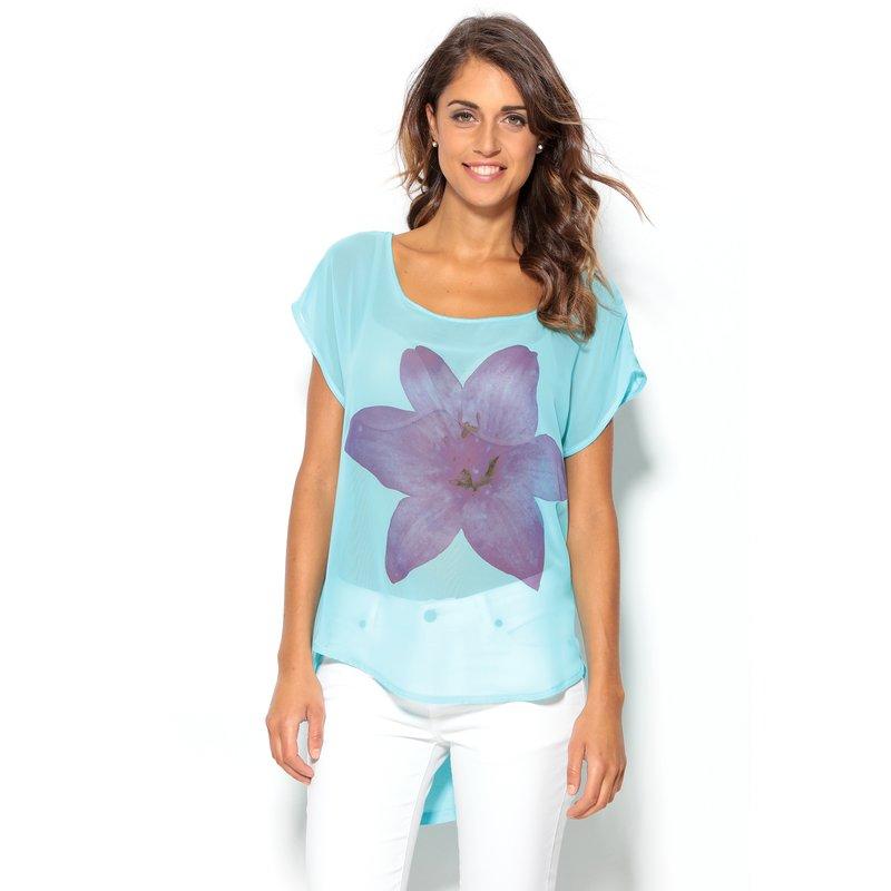 Camiseta manga corta flor morada mujer en dos puntos - Azul