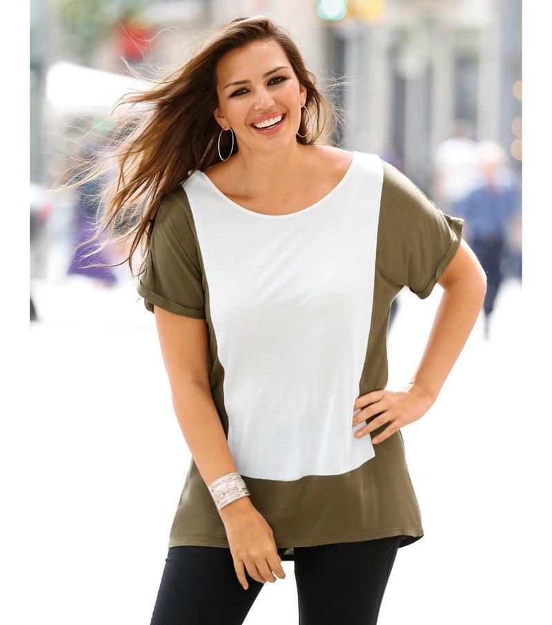 Camiseta mujer manga corta bicolor con cremallera