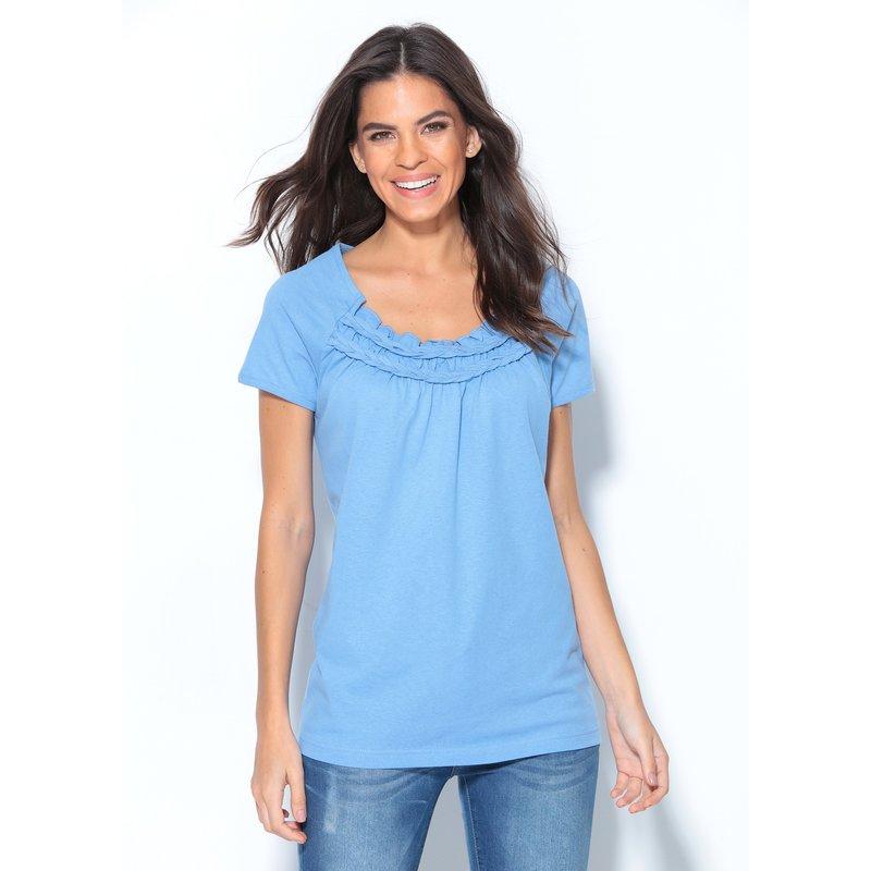Camiseta mujer manga corta de algodón con trenzas