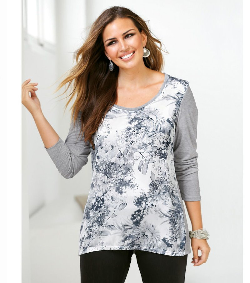 Camiseta mujer manga larga con estampado floral