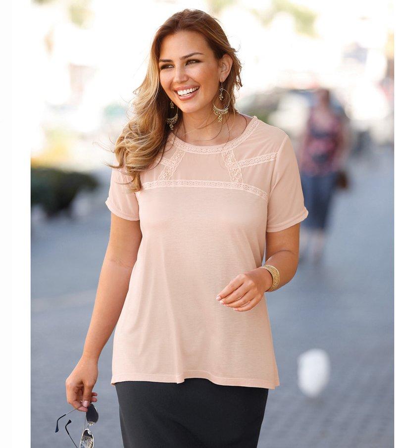 Camiseta mujer manga corta con encaje