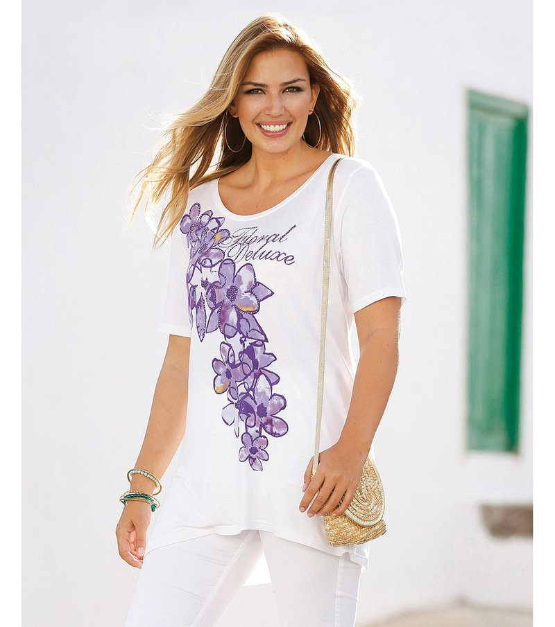 Camiseta mujer estampada con aplicaciones