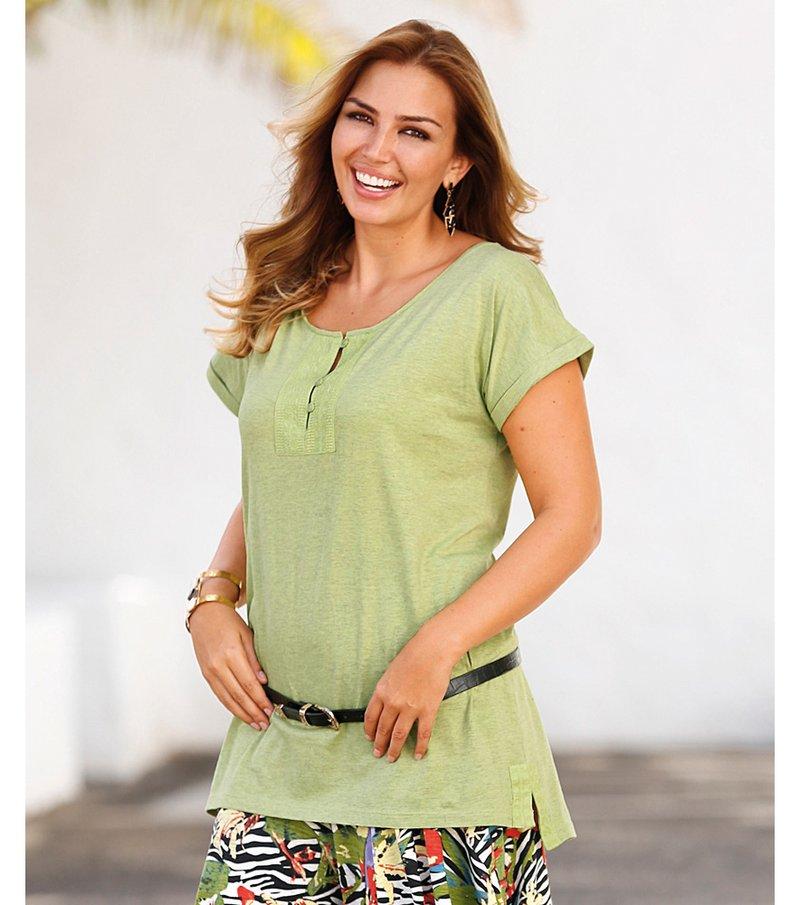 Camiseta larga mujer manga corta bordada