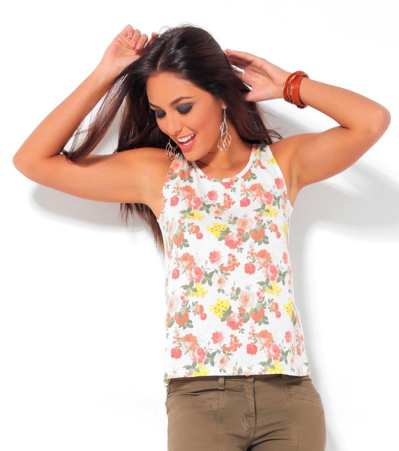 Camiseta mujer tirantes estampada