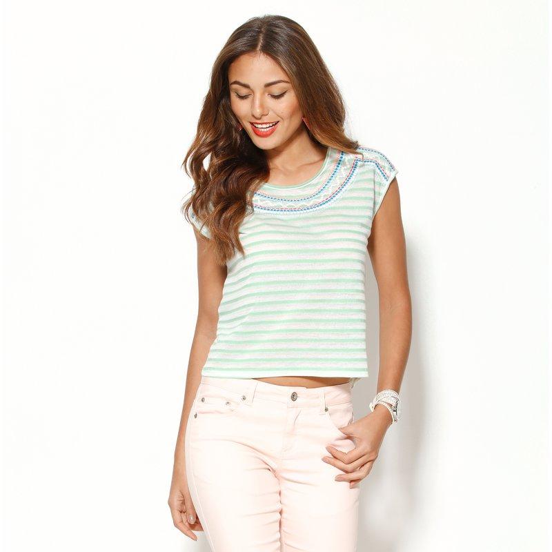 Camiseta mujer manga corta rayas con bordado