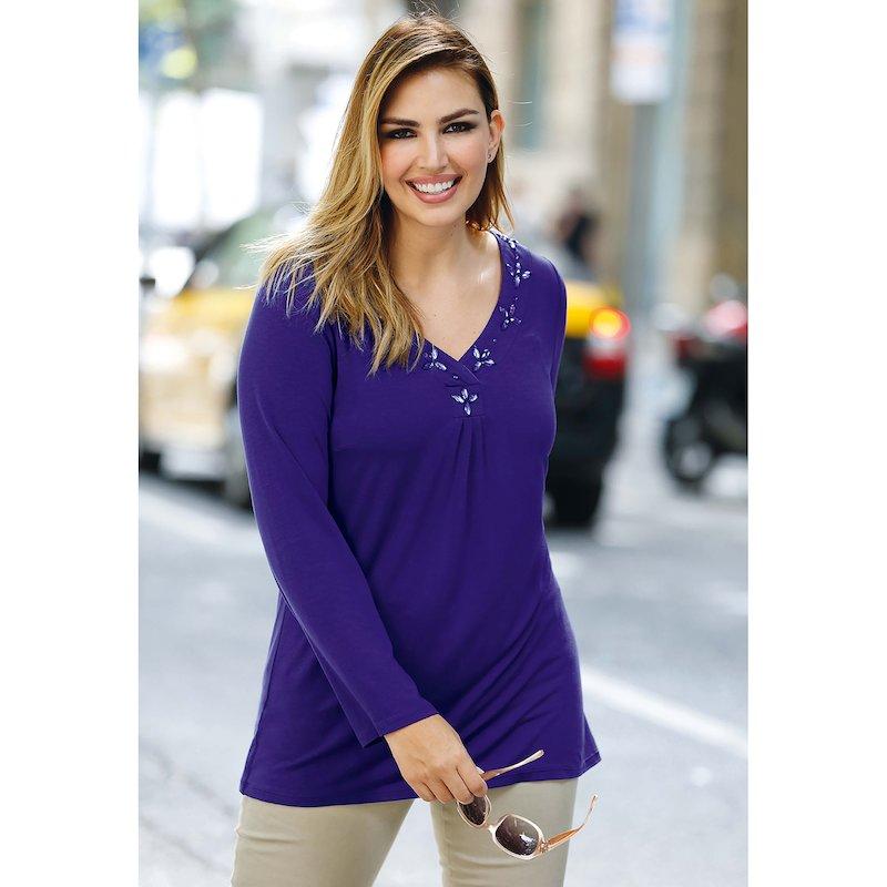 Camiseta mujer manga larga con pedrería