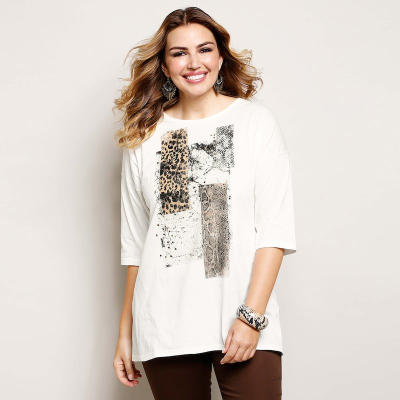 Camiseta larga mujer estampada