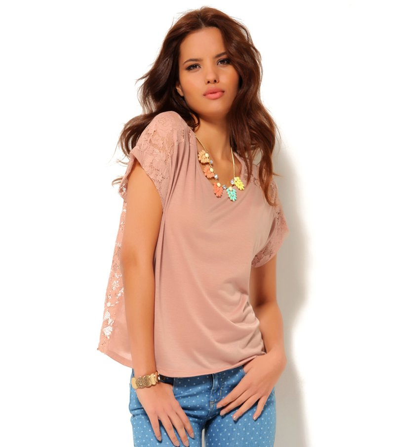Camiseta mujer manga corta con espalda de blonda