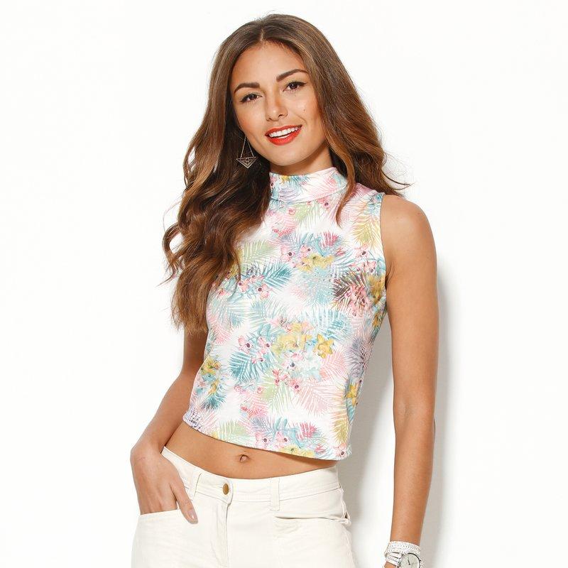 Camiseta corta mujer sin mangas estampada