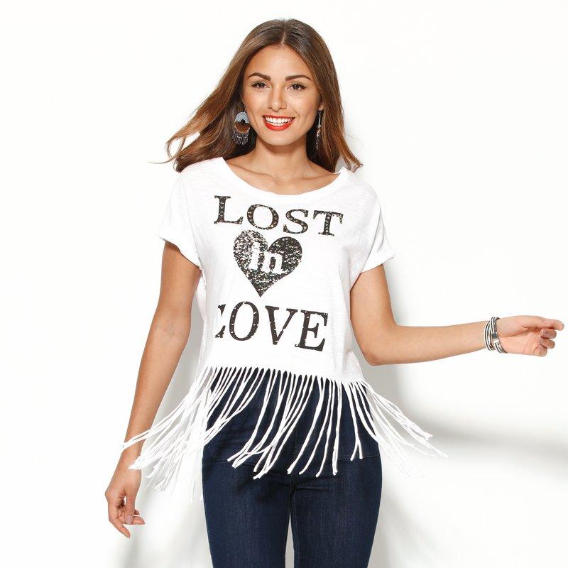 Camiseta mujer manga corta con flecos y strass