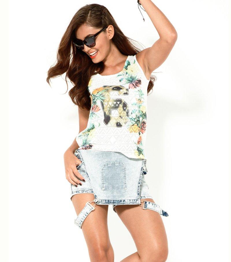 Camiseta mujer sin mangas estampada blanca