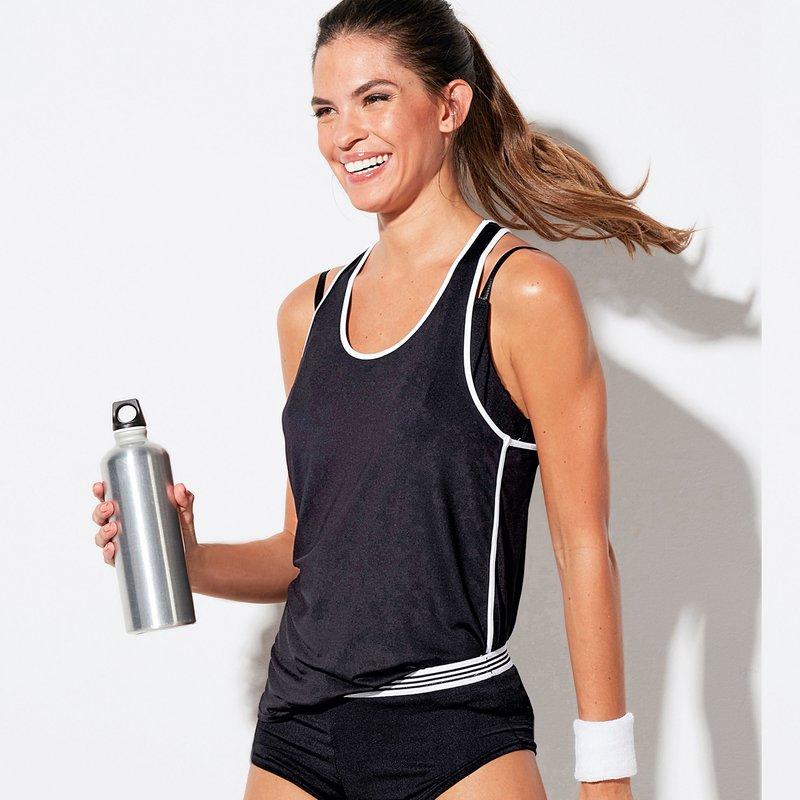 Camiseta espalda nadadora deportiva mujer sin mangas