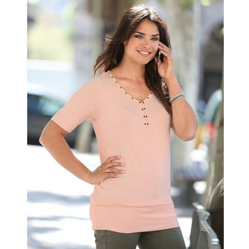 Camiseta elástica mujer con detalles metálicos - Rosa