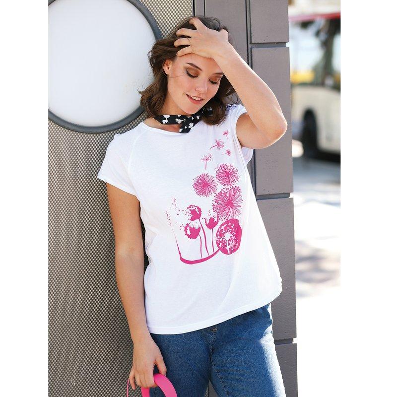 Camiseta mujer con minimanga y estampado delantero