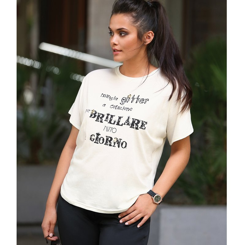 Camiseta mujer estampada manga corta