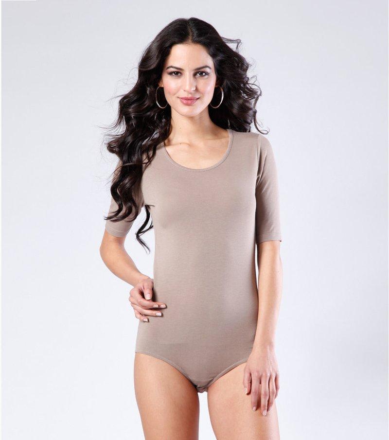 Camiseta body mujer manga corta punto elástico - Beige