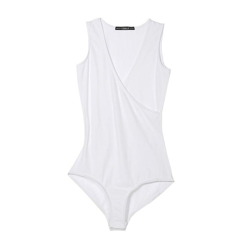 Body camiseta mujer sin mangas corte cruzado - Blanco