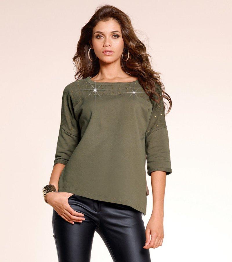Sudadera mujer  felpa 100% algodón - Verde